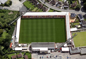 Whaddon Road,aka LCI Rail Stadium Cheltenham,  football stadium aerial photograph