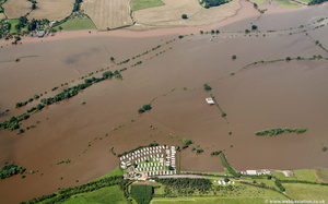 Shuthonger  during the great River Severn floods of 2007 from the air