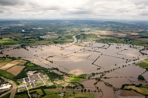 Gloucester wastewater treatment works (WwTW)  during the great floods of 2007 from the air