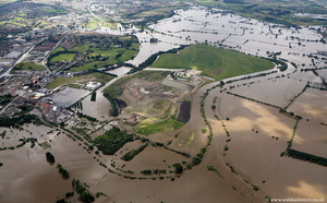 Gloucester   during the great River Severn floods of 2007 from the air