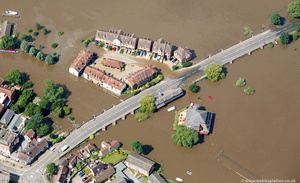 King John's Bridge, Mythe Road  Tewkesbury  during the great floods of 2007 from the air