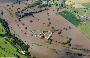 flooded caravans great River Severn floods  from the air