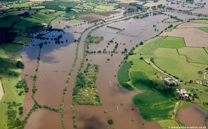 River Severn near Sandhurst   during the great River Severn floods of 2007 from the air