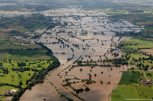 flooding on  River Severn Gloucestershire at Lower Lode during the great River Severn floods of 2007 from the air