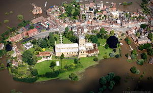 Tewkesbury Abbey during the great floods of 2007 from the air