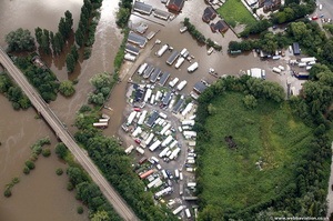 caravan site on westend parade gloucester during the great River Severn floods of 2007 from the air
