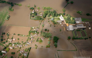 Deerhurst near Tewkesbury in Gloucestershire during the great River Severn floods of 2007 from the air