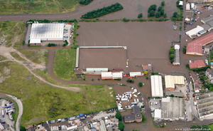 Meadow Park Stadium Gloucester during the great floods of 2007 from the air