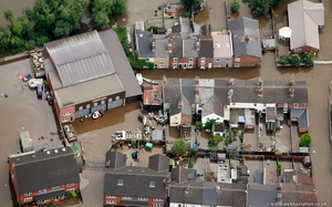Alney Terrace Gloucester during the great floods of 2007 from the air