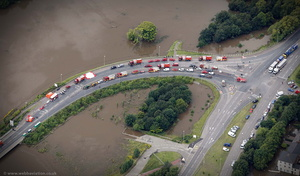 the gathering of Emergency Services in Gloucester  during the great River Severn floods of 2007 from the air
