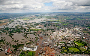 Gloucester during the great floods of 2007 from the air