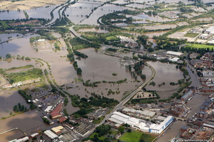 Castle Mews Way  Gloucester during the great floods of 2007 from the air