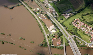 Over, Gloucestershire during the great floods of 2007 from the air