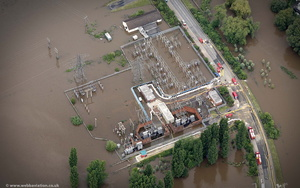 Castle Mead Electrical substation Gloucester  during the great River Severn floods of 2007 from the air