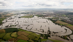 flooded  River Severn at Gloucester  from the air