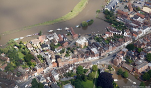 Church Street Tewkesbury during the great floods of 2007 from the air