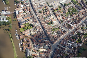 High Street  Tewkesbury  during the great floods of 2007 from the air