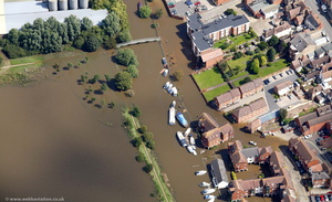 River Avon Tewkesbury  during the great floods of 2007 from the air
