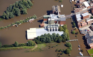 Borough Mills Tewkesbury  during the great floods of 2007 from the air