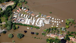 Mill Avon Holiday Park Tewkesbury during the great floods of 2007 from the air