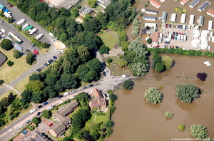 Bredon Road Tewkesbury  during the great floods of 2007 from the air