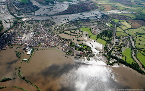 Tewkesbury during the great floods of 2007 from the air