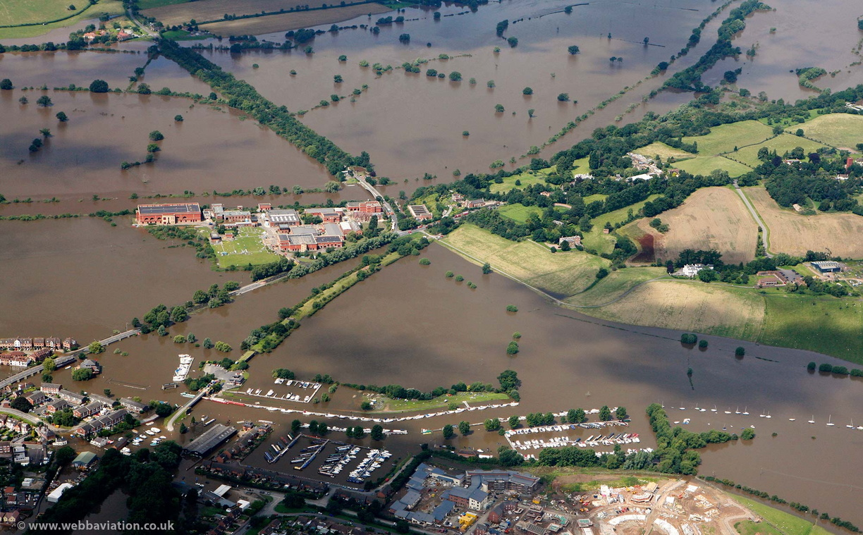 Mythe Water Treatment Works  Tewkesbury  during the great floods of 2007 from the air