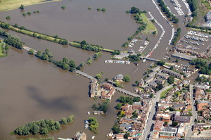looking along the flooded River Avon in  Tewkesbury during the great floods of 2007 from the air