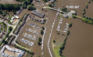 Tewkesbury Marina during the great floods of 2007 from the air