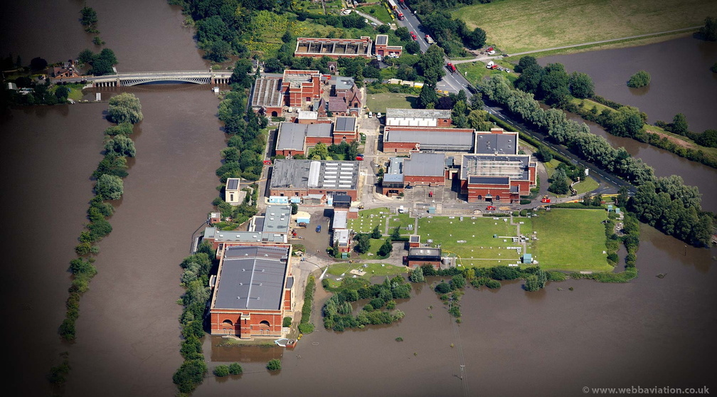 Mythe Water Treatment Works near Tewkesbury during the great River Severn floods of 2007 from the air