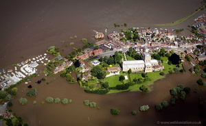 Tewkesbury, Gloucestershire during the great River Severn floods of 2007  aerial photograph