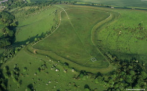Beacon Hill,  Iron Age hill fort near Burghclere, aerial photo