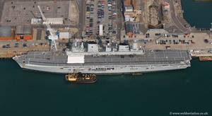 HMS  Ark Royal Portsmouth  Hampshire  England UK aerial photograph