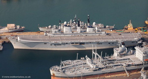 HMS illustrious  Portsmouth  Hampshire  England UK aerial photograph