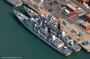 HMS Southampton Portsmouth  Hampshire  England UK aerial photograph