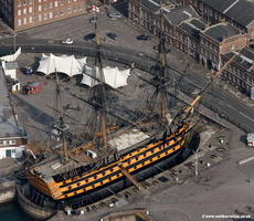 HMS Victory Portsmouth  Hampshire  England UK aerial photograph