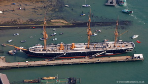 HMS HMS Warrior 1860Portsmouth  Hampshire  England UK aerial photograph