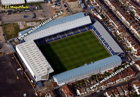 Fratton Park football stadium Portsmouth uk home of Portsmouth F.C aerial photograph