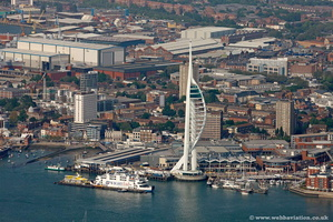 Spinnaker Tower Portsmouth  Hampshire  England UK aerial photograph