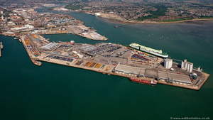 Southampton docks Hampshire  England UK aerial photograph