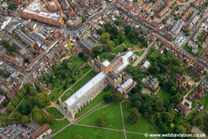 St Albans Cathedral  Hertfordshire  Hampshire  England UK aerial photograph