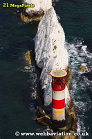 the Needles lighthouse  Isle of Wight   England UK aerial photograph