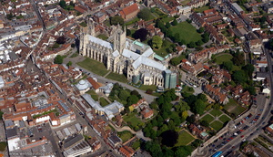 Canterbury Cathedral, Canterbury Kent  England UK aerial photograph