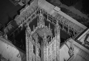 top of  Canterbury Cathedral's  from the air