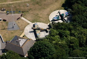 Spitfire & Huricane at the Battle of Britain Memorial, Capel-le-Ferne from the air