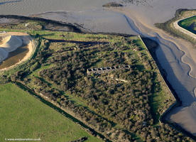 blockhouse associated with Cliffe Fort  from the air