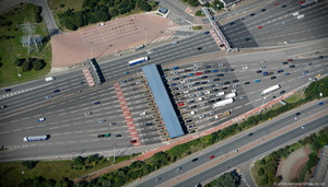 toll booths on the Dartford Crossing  from the air