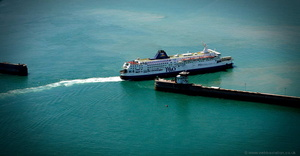 ferry leaving the Port of Dover from the air