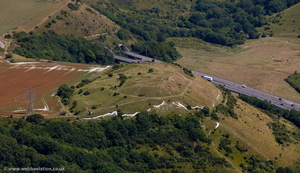 Roundhill Tunnel  A20 Folkestone  from the air