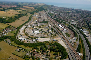 Channel Tunnel  Eurotunnel UK Terminal at Folkestone from the air